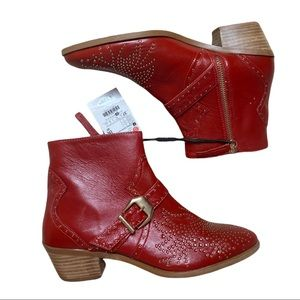 ZARA Red Studded Western Booties Faux Leather